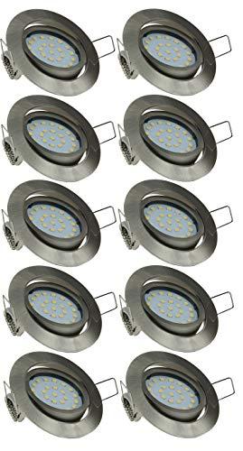 ChiliTec Lot de 10 spots LED encastrables - 4 W - 350 lm - Blanc neutre - 4000 K - 26 mm de profondeur - Diamètre du trou : 71 mm - Orientable - 230 V