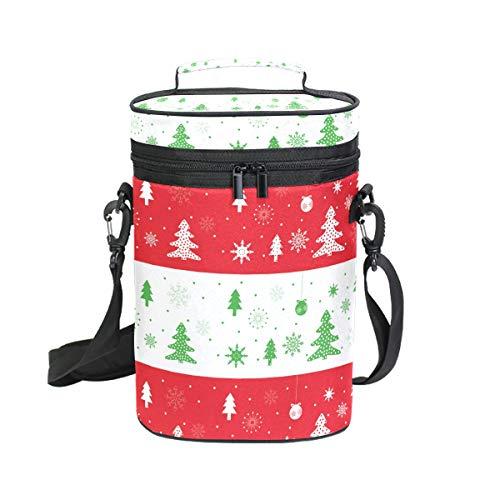 FANTAZIO Kühltasche mit Weihnachtsbäumen, isoliert, für 2 Flaschen, für Reisen geeignet, gepolstert, mit Griff und verstellbarem Schultergurt