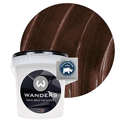 Wanders24® Metall-Optik (1 Liter, Schokobraun) Wandfarbe Metallic - zum Spachteln im Metallic Look - in 17 edlen Farbtönen erhältlich - Made in Germany