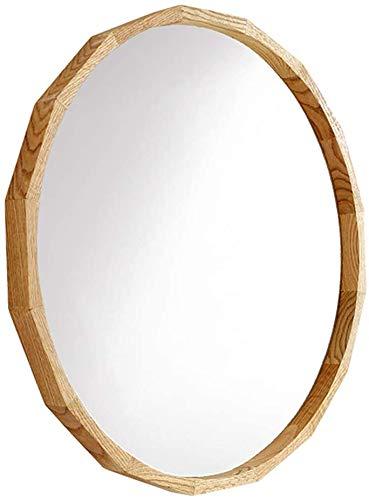ZZX Espejo baño Espejos Pared Espejo tocador Espejo recibidor Espejo de Pared con Marco de Madera   Espejo Redondo Macizo de Vidrio   Vanidad, Dormitorio o baño   Diámetro 50 / 70CM,70cm(27.6″)