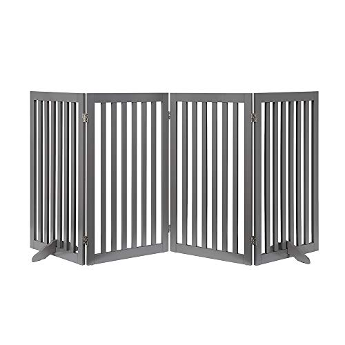 unipaws Freestanding Wooden Dog Gate, Foldable Pet Gate with 2Pcs Support Feet Dog Barrier Indoor Pet Gate Panels for Stairs, Gray (4 Panels, 20 inches Wide, 36 inches High)
