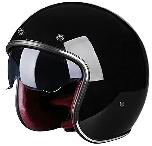 Cascos Abiertos de Moto 3/4 Half-Helmet Retro Medio Casco Cascos de Motocicleta Cruiser Chopper Scooter Piloto Jet Casco 3/4 Adulto Four Seasons Safety Collision Caphelmet A,XXL