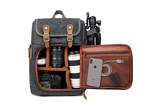DSLR Camera Canvas Backpack Large Capacity Front Open Waterproof Anti-shock SLR/DSLR Camera Rucksack Camera Travel Bag Professional Camera Bag Gray