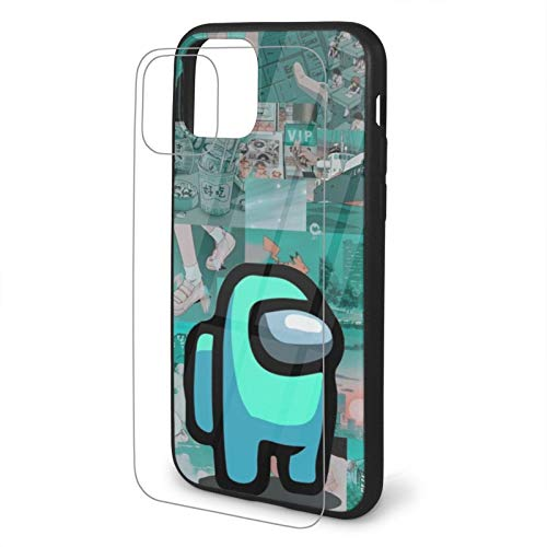 VOROY Funda básica para iPhone 11 de TPU con aspecto azul y 11 personalizable, de cristal templado, resistente al agua, para iPhone 11 Pro-5.8