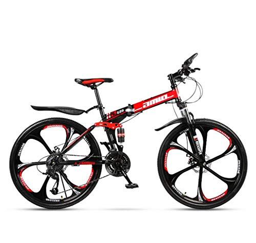 LUO Bicicleta de Montaña para Adultos, Bicicleta de Ciudad Plegable de Suspensión Completa, Bicicletas de Nieve Todoterreno con Doble Disco, Ruedas de Aleación de Magnesio de 24 Pulgadas con Seis Cuc