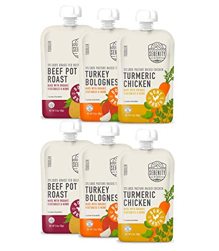Serenity Kids, Toddler Purees with Bone Broth Variety Pack, For 12+ Months, 3.5 ounce pouch (6 count)
