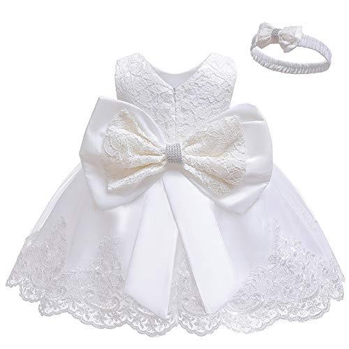 LZH Kleinkind Baby Mädchen Kleid Geburtstag Bowknot Hochzeit Tutu Prinzessin Blume Spitzenkleid, 8348-white, 0-5Monate