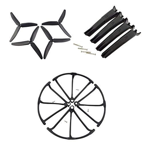 Accessori per droni Parti di aggiornamento per aeromobili a elica Carrello di atterraggio+elica+ copertura protettiva per Hubsan X4 H502S H502E H502T H507A H216A Accessori per droni RC (Colore:Nero)(