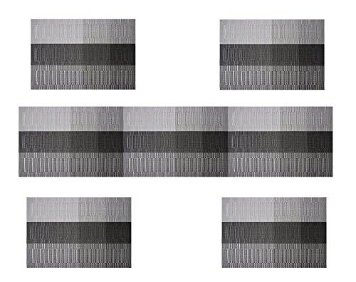 Famibay Plastik Platzsets und Tischläufer 135cm Abwaschbar Hitzebeständig Tischsets 4er Set für Küche Esstisch(Schwarz)