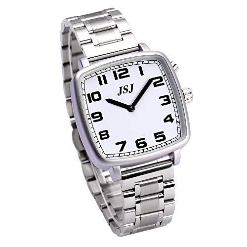 Reloj de pulsera cuadrado de cuarzo con función de despertador, función de voz, hora y fecha, esfera blanca, correa de acero inoxidable TGSW-1702G