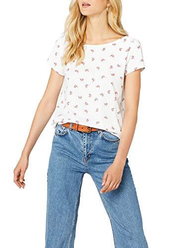 edc by ESPRIT Damen 038CC1K052 T-Shirt, Weiß (White 100), X-Small