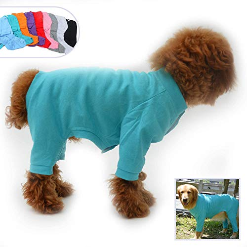 lovelonglong Hund Pyjamas 4 Beine Bedeckt Welpen Kleidung Elastische Atmungsaktive Hund Overalls Mantel für Kleine, Mittlere, Große Hunde Turquoise XS