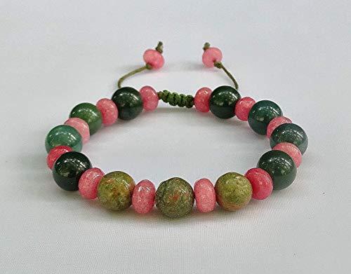 'pink and green' Shamballa-Armband aus Halb- und Naturstein Perlen für Damen, verstellbar, Sabijou