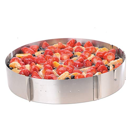 Tortenring verstellbar XXL - Damit gelingen großeTorten für Ihre Familienfeier mühelos - Made in Germany Backring aus Edelstahl für XXL Kuchen von Ø 35-49cm - Kuchenring spülmaschinenfest