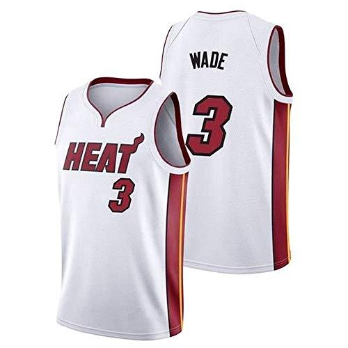 NBA - Camiseta Baloncesto para Hombre Miami Heat 3# Wade, Camiseta Sin Mangas Fitness Retro, Camiseta Deportiva, Chaleco Sin Mangas, Camiseta Transpirable, Ropa Hip Hop Bordada,Blanco,S