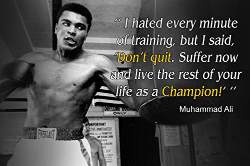 Muhammad Ali Poster Quote Boxing Black History Month Posters Sports Quotes Decorations Growth Mindset Décor Learning Classroom Teachers Decoration Educational Teaching Supplies Black Wall Art P046