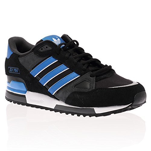 Hombres Adidas Originals Negro Azul Blanco Zx 750 Casual Entrenadores Talla, color Azul, talla 43 1/3 EU