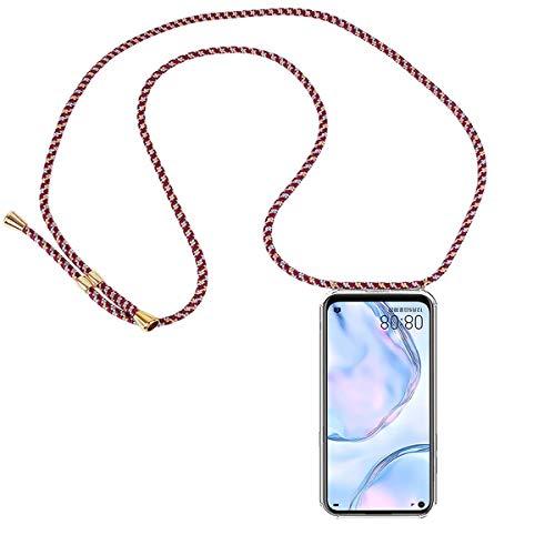 FMPC Carcasa con Cuerda Huawei P40 Lite, Cristal TPU Silicona Transparente Ultrafina de movil Case con Colgante Funda Protector Airbag [Moda y Practico] Anti-rasguños Antichoque