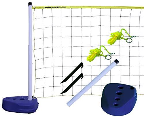 Park & Sun Pool Volleyball-Netz – Volleyball-Netz Set für den Pool – Spielnetz mit Pfosten und Zubehör – Höhenverstellbares Wasser-Volleyballnetz – Mobiles Volleyballnetz – Netzlänge 6,4 m