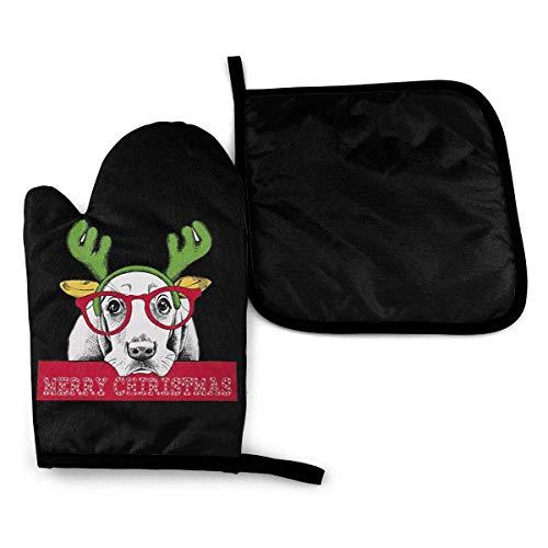 HGFK Bloodhound Dog Frohe Weihnachten Hirsch Mikrowelle Ofenhandschuhe und Topflappen Abdeckungssatz Wärmeisolierung Decke Matte Pad Fäustlinge Handschuh Backen Pizza Barbecue Grillzubehör Home Kitch