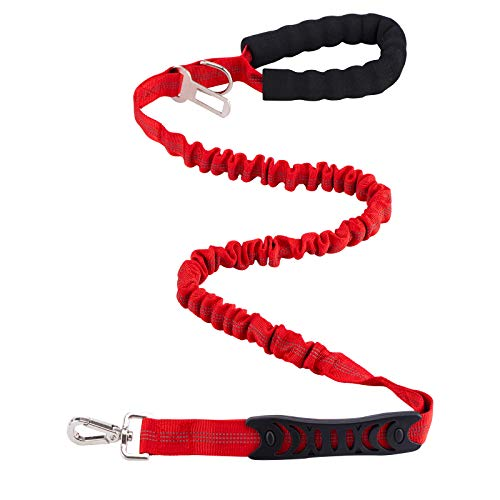 LUMTUR Dog Leash 46 FT Retractable Strong Rubber Band Dog Leash Small Medium and Large Dogs Shock Absorption Traction Rope Red