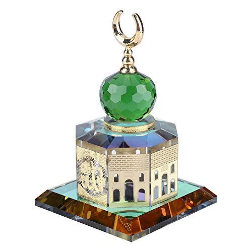 Pssopp Muslim Crystal Gilded Al-Aqsa Mosque Miniature Model Islamic Home Table Decor Showpiece Islamic Architecture Handicraft Souvenir Desktop Decor Islamic Building Gift