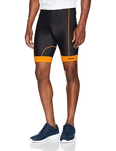 Gregster Herren Laufhose kurz, kurze Sporthose Radler, als Fitnesshose, Schwarz (Schwarz/Orange), XL