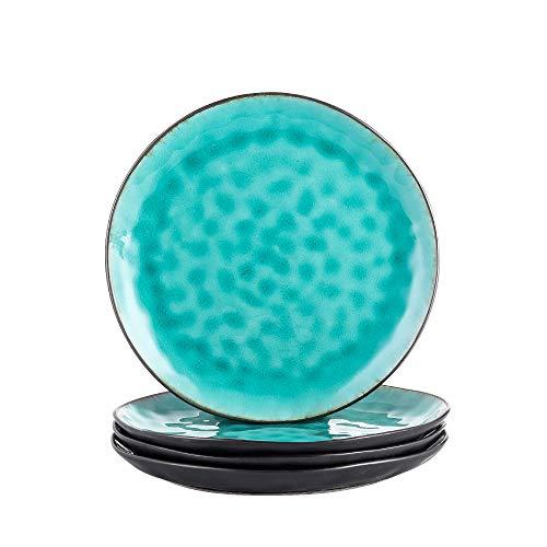vancasso Serie Aqua, Juego de Platos de Cena 4 Piezas Vajillas Esmaltadas Irregular Platos Llanos Azul
