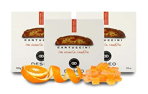 Deseo 3 Confezioni di cantuccini all'arancia candita, Biscotti Artigianali - 3 x 200g