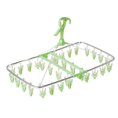 洗濯 物干し ハンガー アルモアスマート 角 グリーン 32ピンチ 軽くて丈夫なアルミフレーム