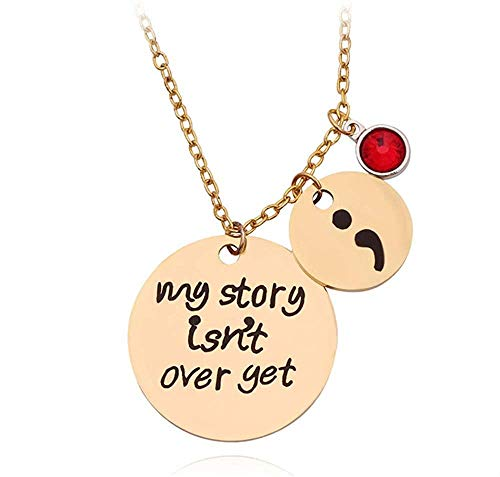 YANCONGCarved My Story ISN t Over Yet Semicolon Necklace 12 Tipos Crystal Bead Charm Colgante Regalos para Mujeres Chica Familia Collier Femme