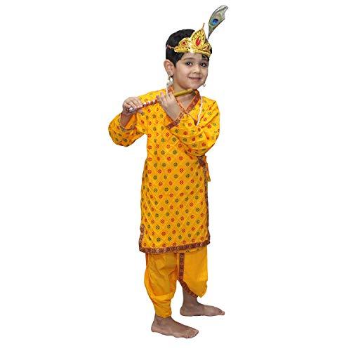 Kaku Fancy Dresses Krishna Costume for Kids | Kids Krishna Dress for Janmashtami/Kanha/Krishnaleela/Mythological Character Krishna Fancy Dress... 4