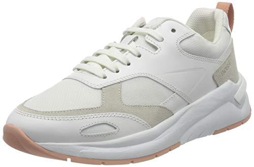 BOSS Damen Skylar_Lace Up_Mix Sneaker, White100, 38 EU