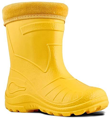 Ultra Light EVA Kids Girls Wellington Boots Rainy Snow Wellies Red Very Warm Liners (5 UK / 22 EU / 14.5 cm, Yellow)