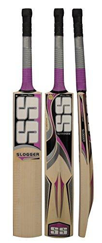 SS slogger Cricket Bat Kaschmir Willow von Sunridges–GRATIS Bezug SS, volle Größe kurzer Griff–geeignet für Spielen mit Leder Seasoned oder schwere Tennis Ball