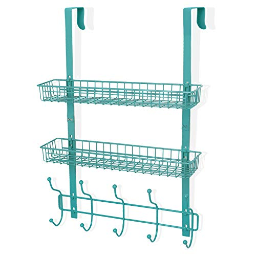 Coat Rack, MILIJIA Over The Door Hanger with Mesh Basket, Detachable Storage Shelf for Towels, Hats, Handbags, Coats (Tiffany Blue-2 Layer)