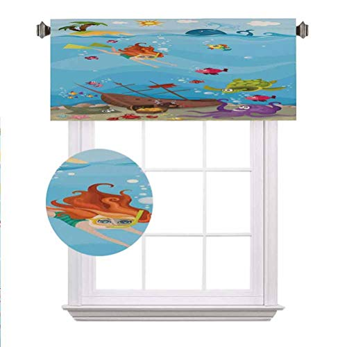 """Kids Nautical Window Valance,Under The Sea Theme Cartoon Underwater Diving Sea Creatures Shells Seahorse Decor Decorative Curtain Valance for Kitchen Bedroom Decor with Rod Pocket,42""""x18"""","""
