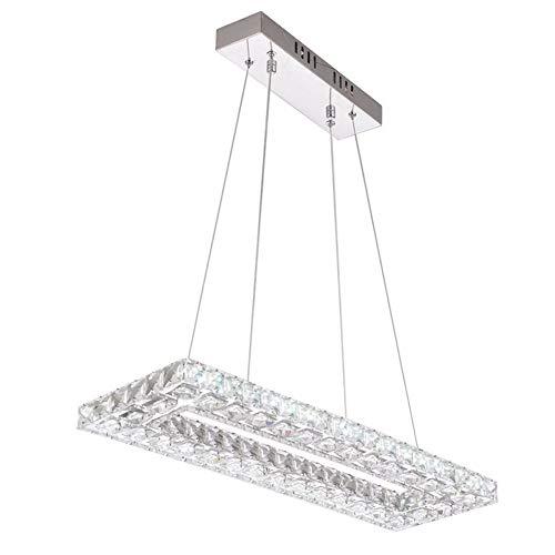 Restaurantlampe LED Modern Luxus K9 Kristall Lüster Warm Romantisch Pendelleuchte Höhenverstellbar, Dimmbar Quadrat Hängeleuchte Schlafzimmerlampe Hotel Lampe Foyer Lampe Studielampe L60CM 32W