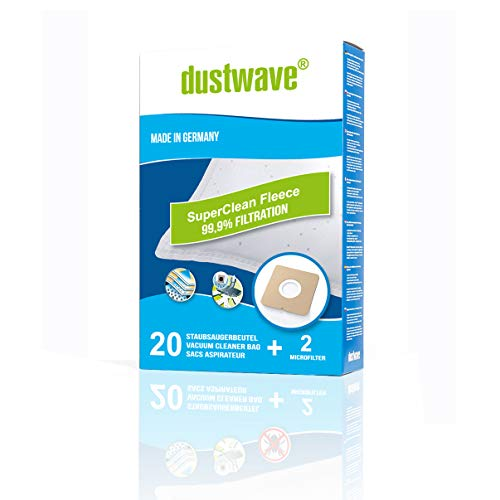 20 Staubsaugerbeutel + 2 Filter mehrlagiges Micro-Vlies geeignet und kompatibel mit Swirl Y98, Y198, Y298 - dustwave® Markenstaubbeutel Made in Germany