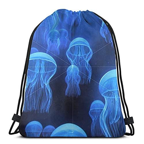 Lmtt Bolsas con cordón Jellyfishes Mochila en vivo Bolsas con cuerdas de tirón Almacenamiento de deportes a granel Gimnasio para niñas Mochila plegable para acampar Picnics como imagen