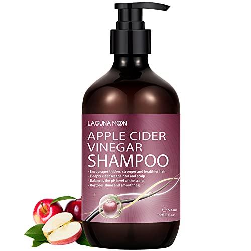 Lagunamoon Apfelessig Shampoo, Biotin & Rizinusöl gegen Haarausfall, Feuchtigkeit und Stärkung des Haares, 500 ml Haarausfall Shampoo für Männer & Frauen