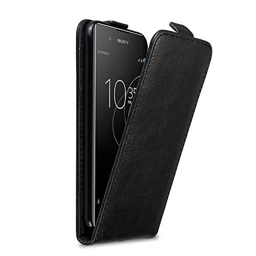 Cadorabo Hülle für Sony Xperia XA1 Plus in Nacht SCHWARZ - Handyhülle im Flip Design mit Magnetverschluss - Hülle Cover Schutzhülle Etui Tasche Book Klapp Style