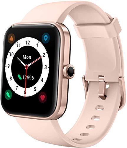 YSNJG Reloj Inteligente, De Fitness 1.69 Pulgadas con 14 Modos Deporte, Ritmo Cardíaco Y Monitor Oxígeno En La Sangre, Rastreador Actividades Incorporado Alexa, Smartwatch,Rosado