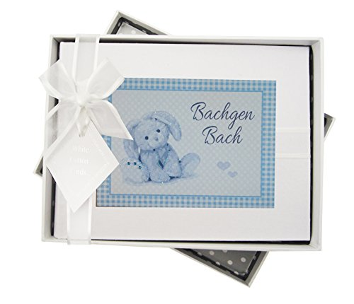 White Cotton Cards du Pays de Galles bébé, Bachgen Bach, Mini Album Photo, Bleu Lapin, Tissu, Blanc, 16 x 20.5 x 4 cm