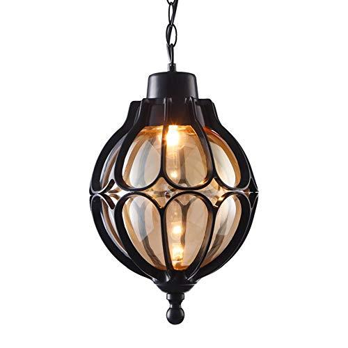Hanglamp retro zwart rond buiten E27 hanglamp in hoogte verstelbaar aluminium / glas eetkamer balkon deco paviljoen hanglamp voor buiten 18 x 33 cm