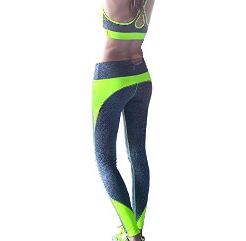 Tongshi Las mujeres de cintura alta deportes pantalones Legging entrenamiento deporte Fitness correr Legging (Rosa caliente, L)