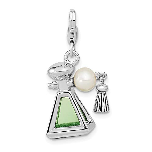 Ryan Jonathan Fine Jewelry Sterling Silver 3-D Perfume Freshwater Cultured Pearl Bottle with Lobster Clasp Charm Pendant