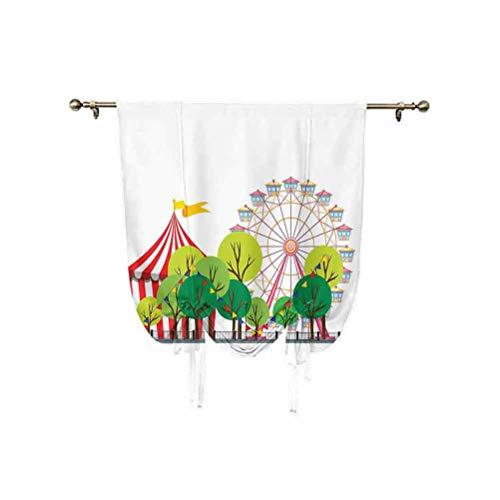 Cortina romana de circo, escena de carnaval de circo con rueda de la noria y imágenes de árbol, cortina opaca con aislamiento térmico, para decoración del hogar, multicolor