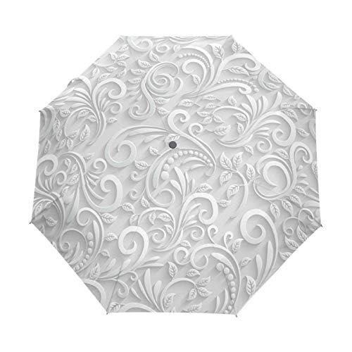 Full Automatic 3D Floral White Chinese Sun Umbrella 3 Folding Umbrella Rain Women Anti Uv Outdoor Travel