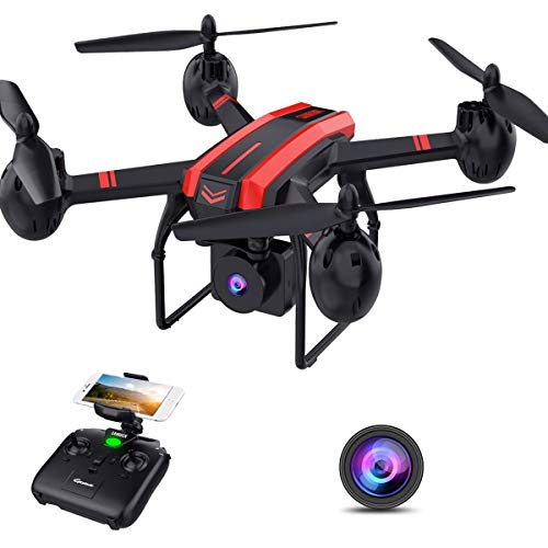 SANROCK Drohne mit Kamera für Kinder, X105W FPV Drohne mit HD Kamera, WiFi-Echtzeit-Video-Feed. Lange Flugzeit 17 Minuten, Höhenhalt, Schwerkraftsensor, Route erstellt, One Key Return